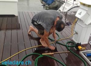 Arbeiten im Regen vor Hurrikan Michael