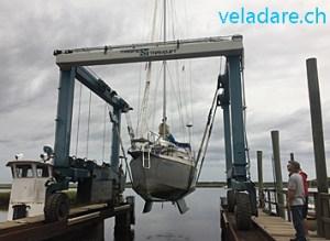 St Mary's Boatsyard: unser Segelboot wird rausgenommen