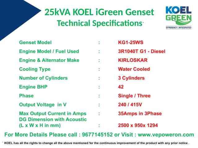25kVA Genset Prices in Chennai