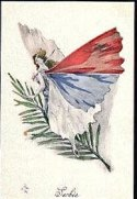 WWI French Serbie Butterfly lady postcard