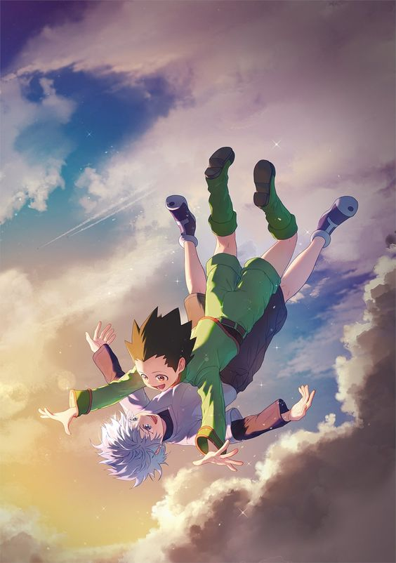 Wow, killua and gon flying together ,very cute