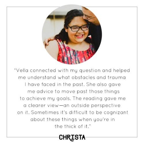 Christa's experience with Vella's mini tarot reading