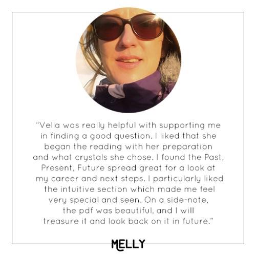 Melly's experience with Vella's mini tarot reading