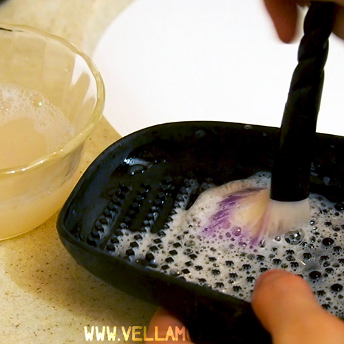 Scrub all that gunk away when you clean your makeup brushes