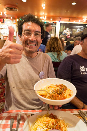 Edgardo approves of dinner at Buca di Beppo