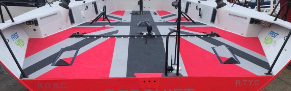 view of epic union jack flag design cnc cut in to foam cockpit floor of fast 40+