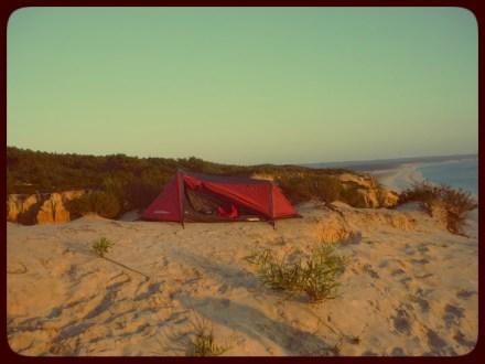 A minha tenda num sítio perfeito.