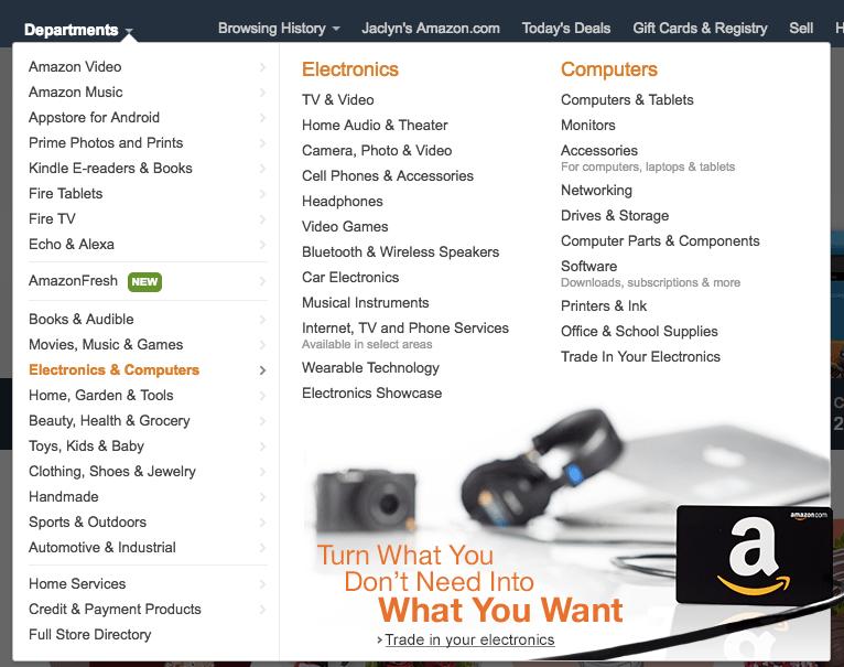 Amazon Electronics and Computers Screenshot