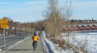 Calgary AB, Bike Trail on Bow River by Peace Bridge ©Photograph by H-JEH Becker, 2012