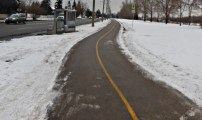 Calgary AB, Bike Trail by Bus Stop ©Photograph by H-JEH Becker, 2012
