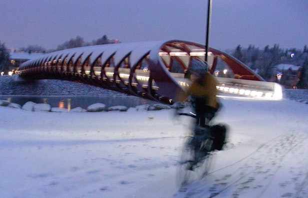 Calgary AB, Peace Bridge and the Bow River Trail, Winter Cyclist, Commuting Home in the Dark ©Photograph by H-JEH Becker, 2012