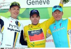 Tour de Romandie 2011 Podium l to right Martin, Evans, Vinokourov (image courtesy of UCI)