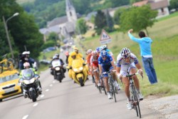 Arthur Vichot FDJ-BigMat heading for victory on stage 5 (image courtesy of official race website)