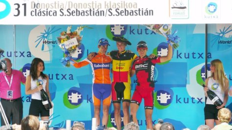 2011 Clasica San Sebastian podium l to r Carlos Barredo, Philippe Gilbert and Greg Van Avermaet (image courtesy of RDW)