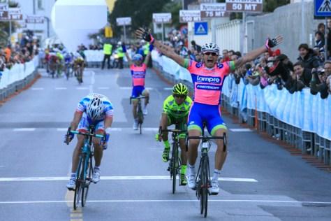 Pozzato wins in Laigueglia from 4-man final break (image courtesy of Lampre-Merida)