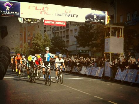 Renshaw crosses the line first in Almeria (image courtesy of Mark Renshaw)