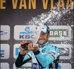 Tom Boonen celebrating his Flanders win (image courtesy of Flanders Classics)