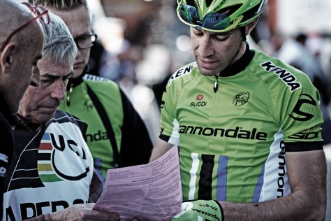 Cristiano Solarno in the lime green of Cannondale