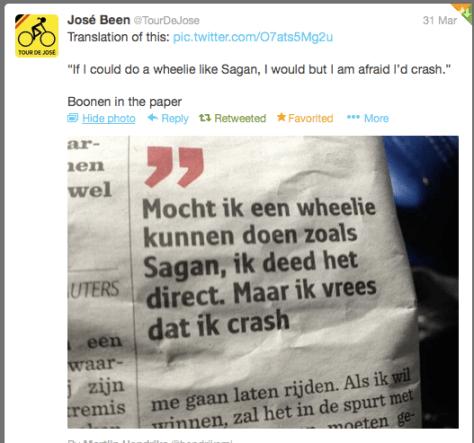 Boonen Sagan wheelie