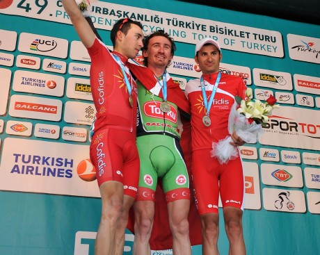 Stage winner Sayar flanked by Cofidis riders Edet and Bagot (image: TUR 2013)