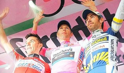 Giro 2012 podium Hesjedal Rodriguez De Gendt (Giro website)