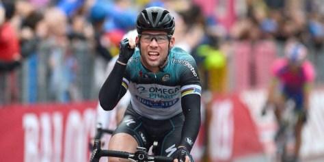 Cavendish celebrates his 100th career win (Image: OPQS)