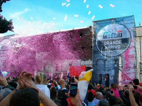 Giro litter bugs with lots of pink and gold confetti (image: Nathalie)