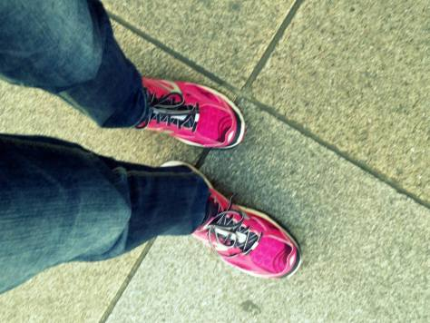 Nathalie's sporting pink trainers and pink nails tipped with the Italain flag (image: Nathalie)