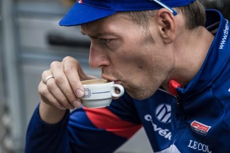 Marcin Bialoblock takes a coffee as race preparation