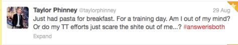 G Phinney pasta for breakfast