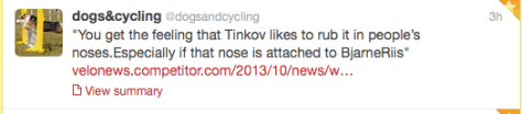 Tinkov rubbing nose