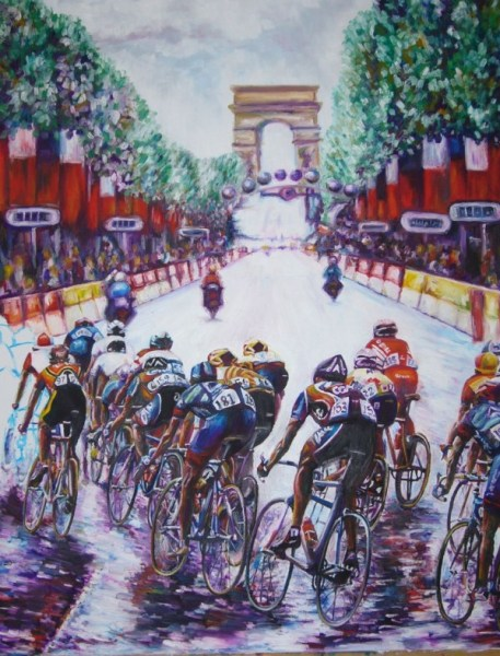 First cycling painting which depicts the Tour on the Champs Elysees