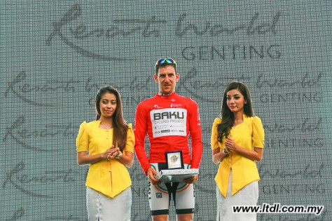 Matt Brammeier sporting the red KoM jersey, seen here after stage two (Image: Tour de Langkawi)
