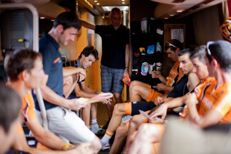 Euskaltel on team bus Vuelta a Espana 2013