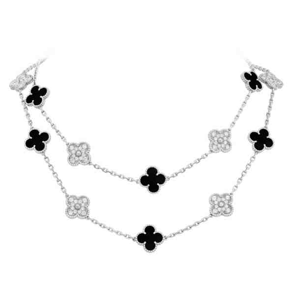 Vintage Alhambra 20-motif long necklace, white gold, onyx and diamonds