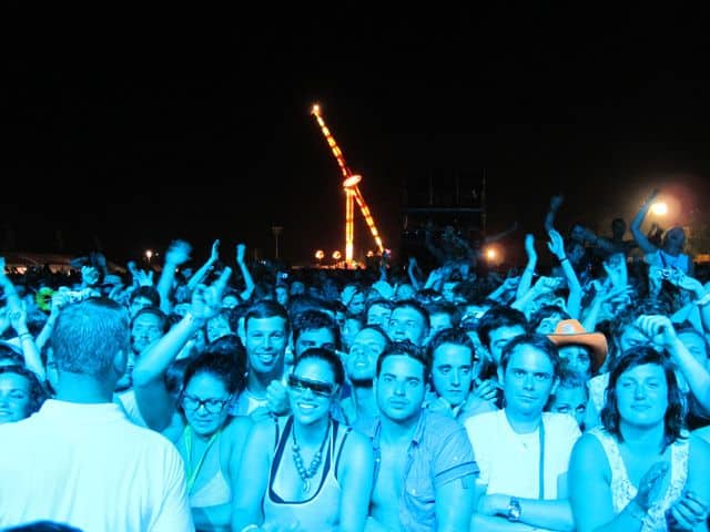 Fans bathed in blue at the Benicassim Festival in Spain.