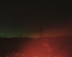 Winter and aurora borealis in Finnskogen.