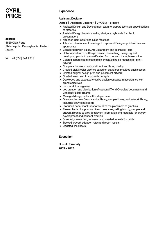 Design Assistant Resume Sample Velvet Jobs