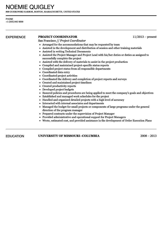 project coordinator objective project coordinator resume sample