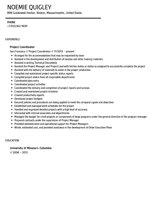 project coordinator resume samples project coordinator resume