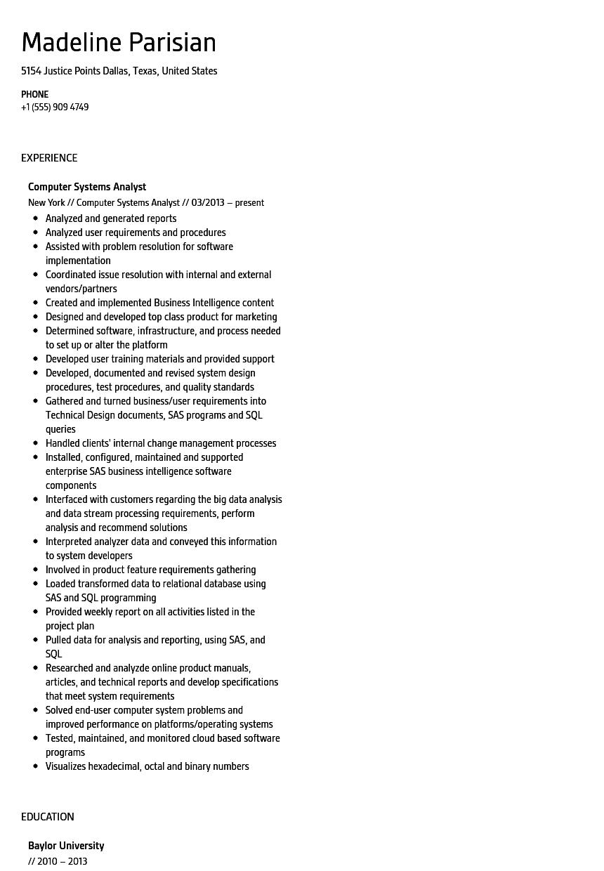 Computer Systems Analyst Resume Sample Velvet Jobs