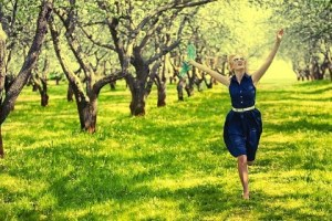 sexy-this-week-Women running through orchard field