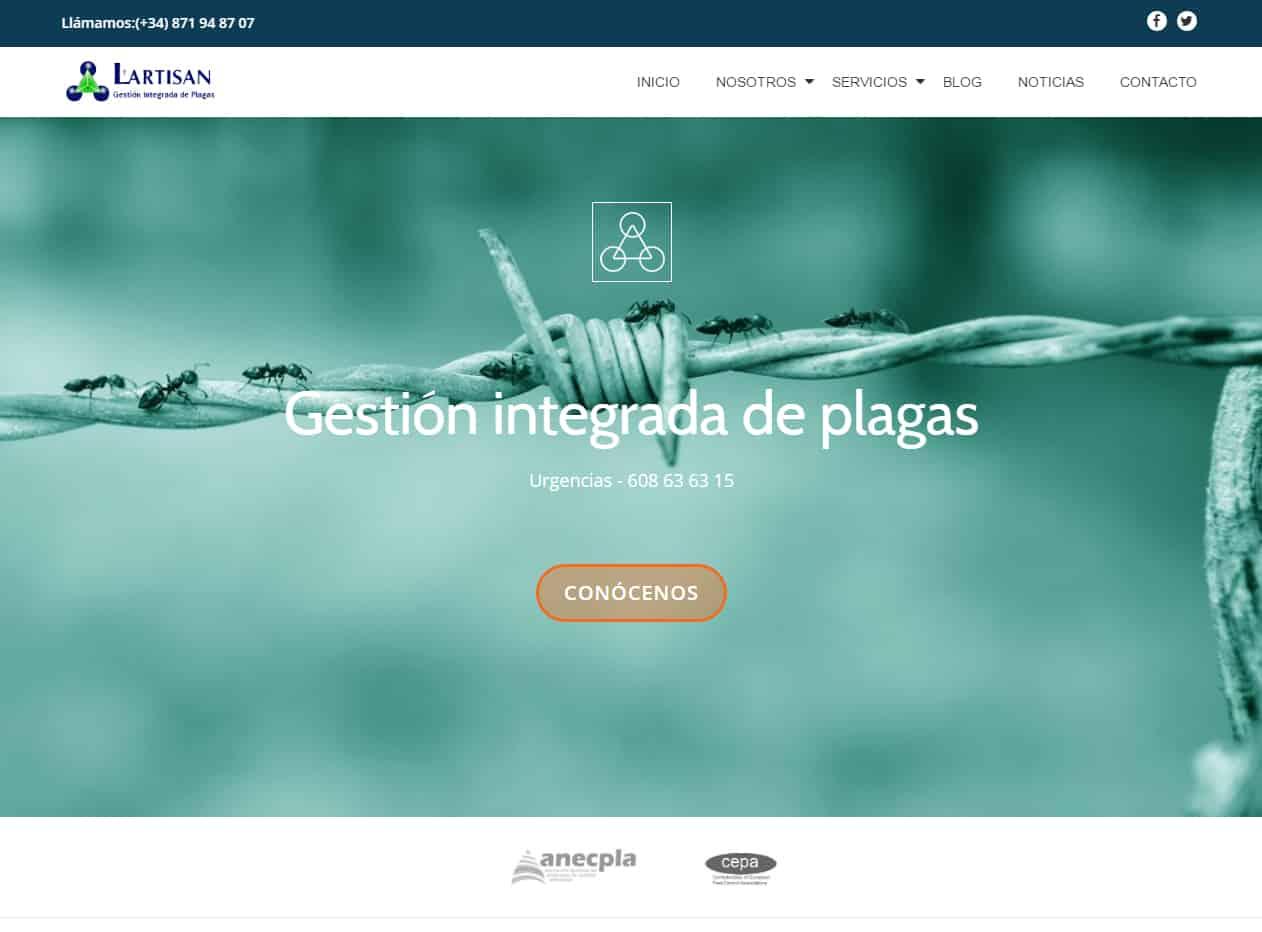 Diseño web L'Artisan Control de plagas - Desarrollo web para empresas de control de plagas