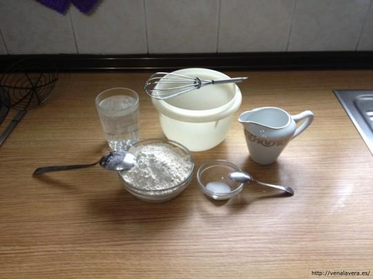 Ingredientes para la receta de buñuelos