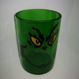 Vaso reciclado de botella de vidrio con diseño EL GRINCH (FERNET)