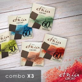 Combo de 3 tabletas de chocolate ETNIA