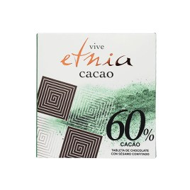 Tableta de chocolate ETNIA CACAO 60% puro chocolate con sésamo confitado