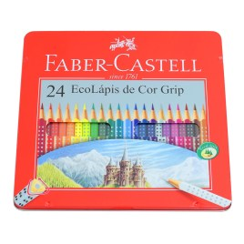 Estuche de metal con 24 lápices de colores Colour Grip Faber-Castell