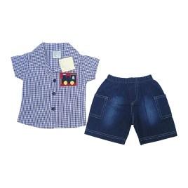 Conjunto de bebé con camisa azul a cuadros y short jeans
