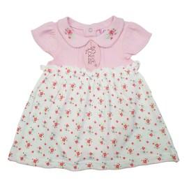 Vestido para bebé rosa con falda floreada